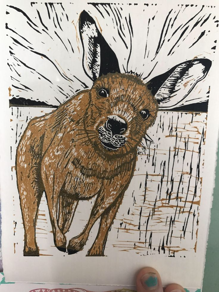 A personal favourite from my Etsy shop https://www.etsy.com/au/listing/518275075/kangaroo-portrait-two-colour-linoprint-5