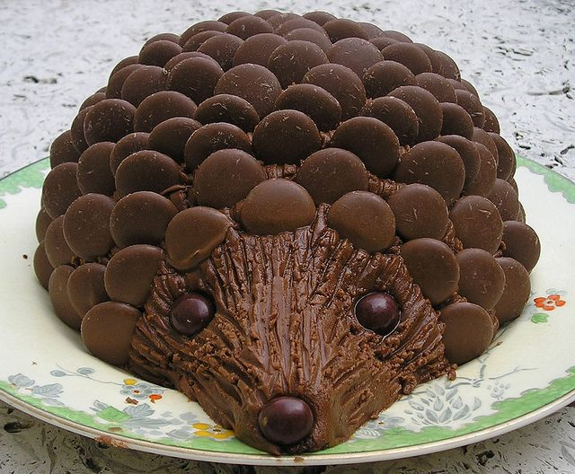 "Sarah Ozolins: ""Hedgehog Cake - out of all the women's weekly options this was my favorite and most requested birthday cake as a child. I always remember sneaking in and eating the smartie nose the night before the party and Mum would have to replace it!"""