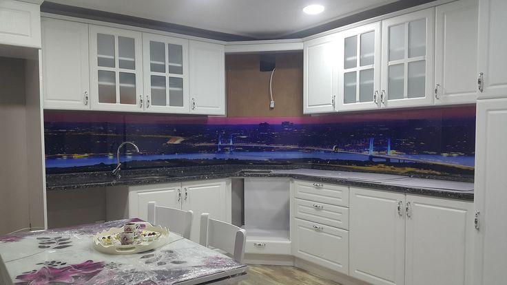 mutfak tezgah arası cam panel avrupa yakası