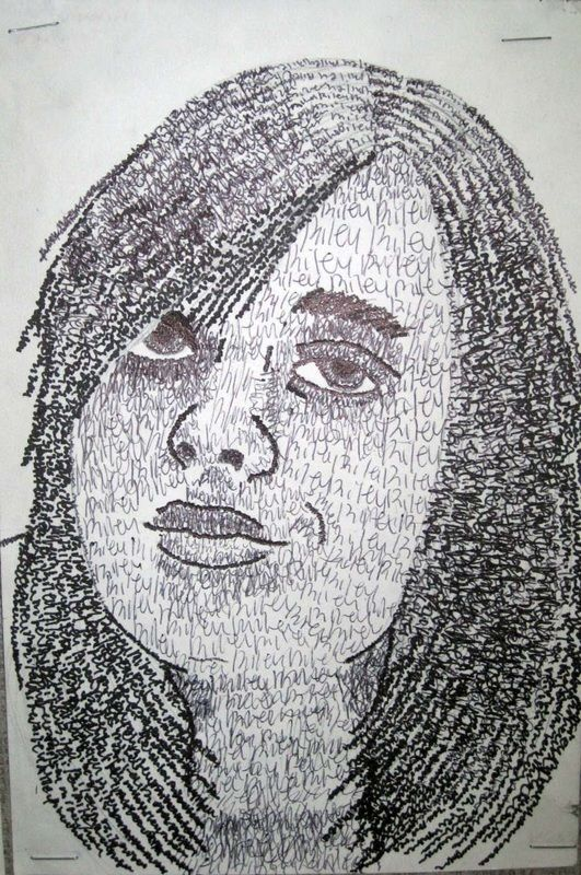 Text Portraits - Schoo Middle School Art   Again...any simple shape filled with letters