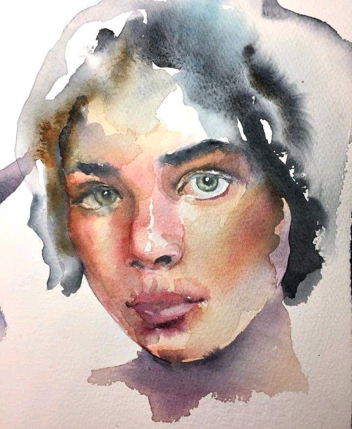 Painting A Portrait In Watercolour S Izobrazheniyami Akvarelnye