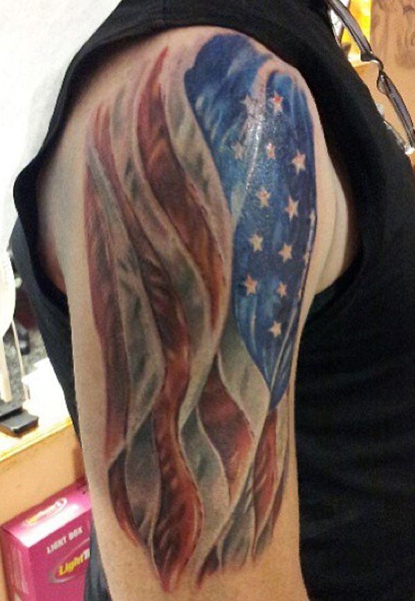 e0b5bd76f34a2 25 Awesome American Flag Tattoo Designs | Tatoo's | American flag sleeve  tattoo, Patriotic tattoos, Tattoos