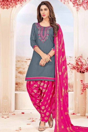 e9d78b0aea Attractive Cotton Patiala Suits In Grey Color - LSTV01383 | Eid ...