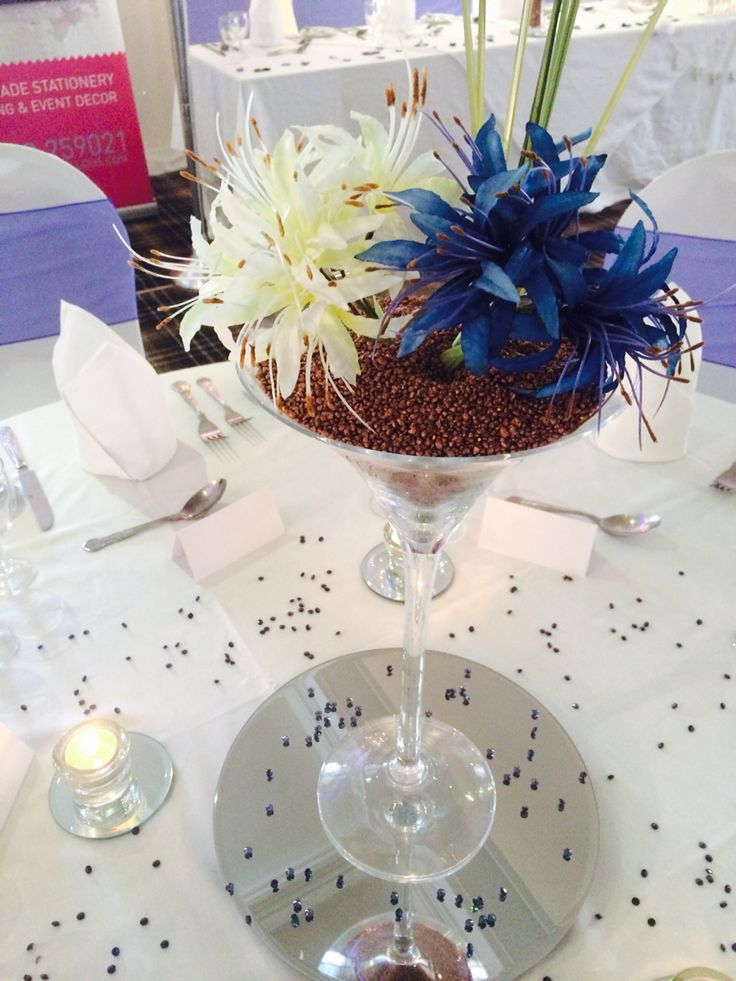 Martini glass centrepiece by Made Marvellous