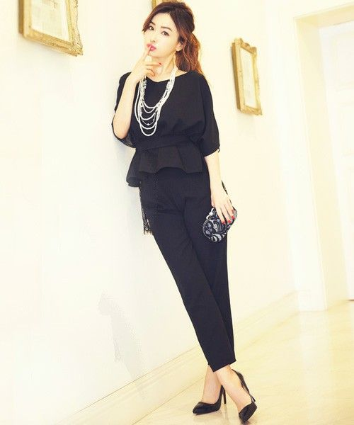 DRESS LAB(ドレスラボ)の「\平子理沙さん着用/ドルマンレースセットアップパンツ【結婚式・お呼ばれ対応】(つなぎ/オールインワン)」 ブラック