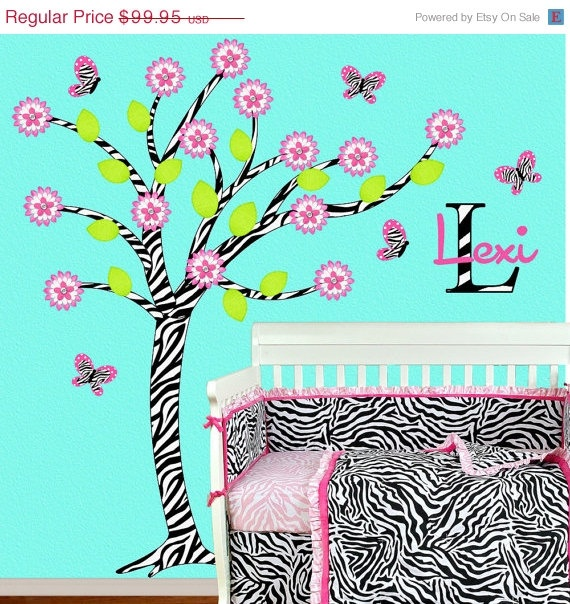 SALE Zebra Girl Room Decor Children Wall by onehipstickerchic, $84.96