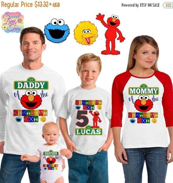 15% Off Elmo birthday shirt /sesame street shirt /family matching shirts/Elmo sesame street birthday party shirt /Elmo sesame street/ family