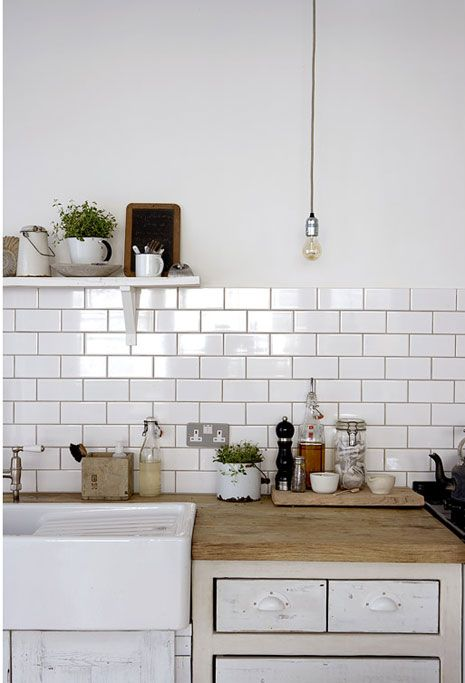 I love the sink, subway tile back splash and counter top.