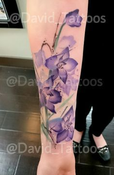 watercolor delphinium tattoo - Google Search