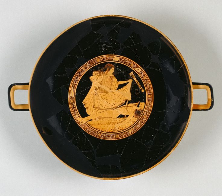Attic Red-Figured Kylix.  Artist/Maker(s): Attributed to Brygos Painter (Greek (Attic), active about 490 - 470 B.C.).  Culture: Greek (Attic).  Place(s): Athens, Greece (Place created).  Date: about 490 B.C.  Medium: Terracotta.