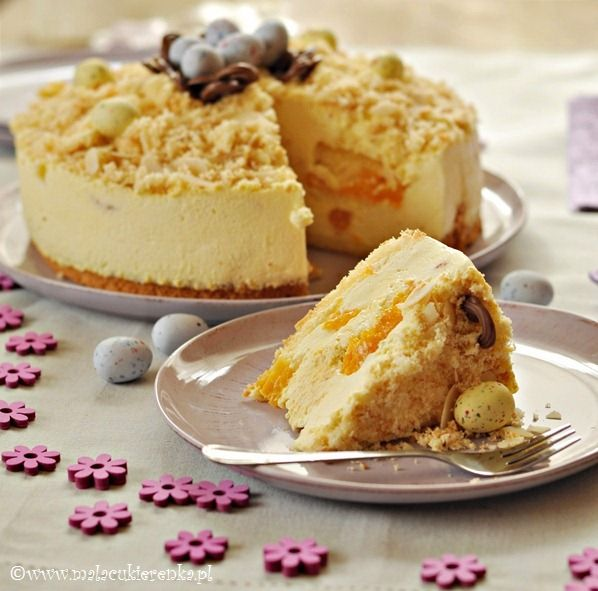 Advocaat cake with cream ~ w/mandarin oranges. Polish-translate.  Advocaat recipe separate - follows