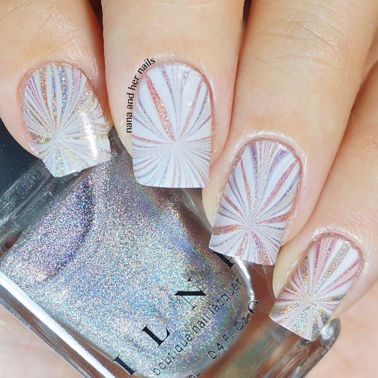 """ɴɑɴɑ on Instagram: """"My attempt on 'Holo Watermarble' for #watermarblepracticewed . Sadly the holo based covered up with too much white . I used @ilnpbrand 'mega (s)' as the based and marble with @ulta3 'watercolor' together with @chinaglazeofficial 'white on white' to create tinted rainbow effect . And of course my trusted watermarble tool 'pure color 7' from @whatsupnails , lastly i top it all off with @urbannailart 'speed-up' ."""""""