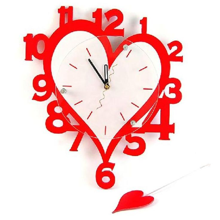 Amazing Numbers Design Heart-shaped Red Wall Clock