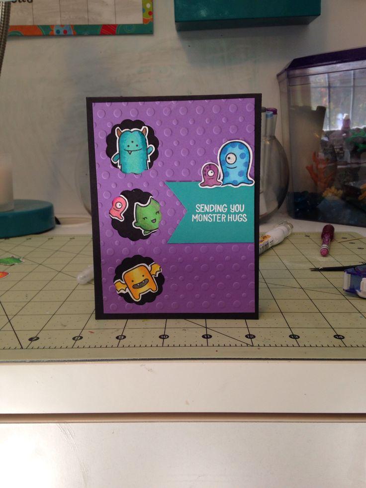 Sending monster hugs card using monster mash stamp set from lawn fawn