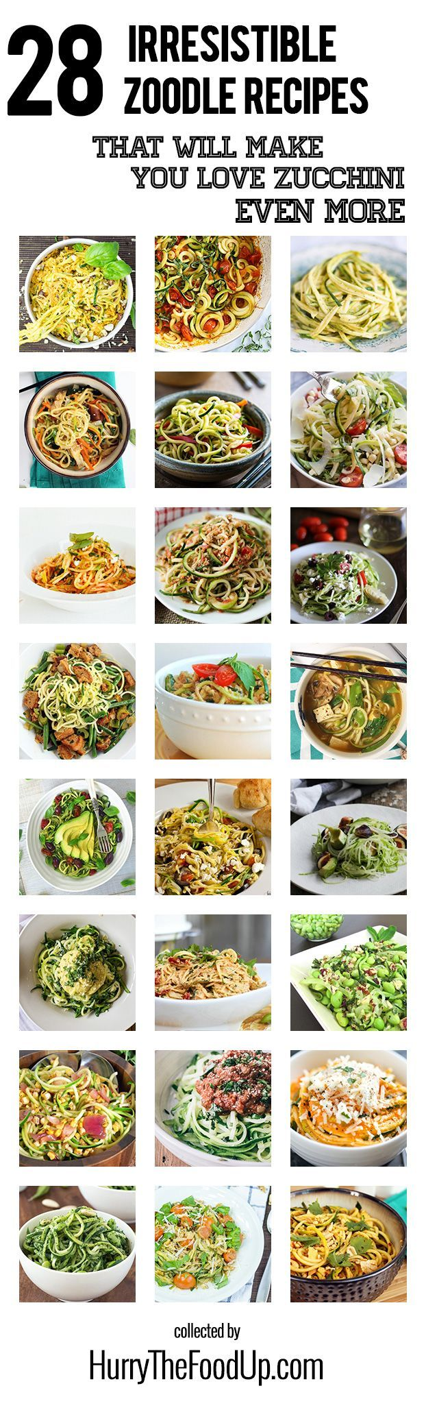 28 Irresistible and Quick Zoodle (Zucchini Pasta) Recipes #zucchini #zoodles   hurrythefoodup.com