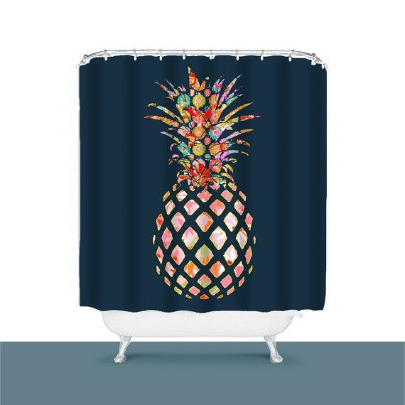 Pineapple Shower Curtain Bathroom Decor Brown Shower Curtain