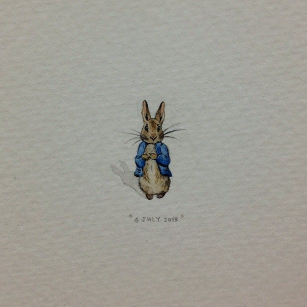 "Day 185 : ""Believe there is a great power silently working all things for good, behave yourself and never mind the rest."" - Beatrix Potter. 6 x 17 mm. #365paintingsforants #miniature #watercolour..."