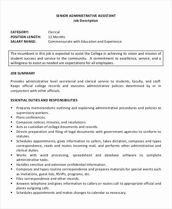 Resume Summary Examples For Administrative Assistants Inspirational 7 Senior In 2020 Job Resume Examples Administrative Assistant Resume Administrative Assistant Jobs