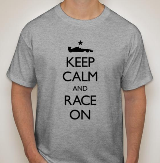 "KEEP CALM AND RACE ON T-Shirt in Light Heather Grey :: This T-shirt is a 6.1 ounce Haynes ""Beefy-T"" in 100% pre-shrunk cotton :: Starting at $19.99 at www.ComeAndRaceIt.com :: Inspired by the 2.5M British posters created to raise morale of anxious citizens at the beginning of WWII - Keep Calm and Carry On. This adaptation is intended to encourage F1 fans to keep the faith that world-class motorsports will come to Austin beginning November 18, 2012."