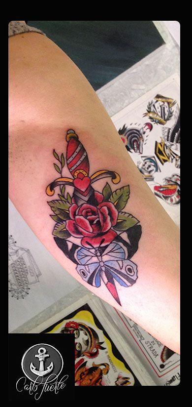 traditional tattoo #dagger tattoo # butterfly tattoo #rose tattoo #neo traditional tattoo #neo traditional tattoo #tattoo idea