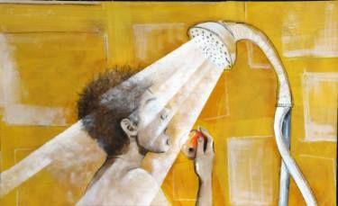 "Saatchi Art Artist Hasti Radpour; Painting, ""APPLE IN THE SHOWER"" #art"