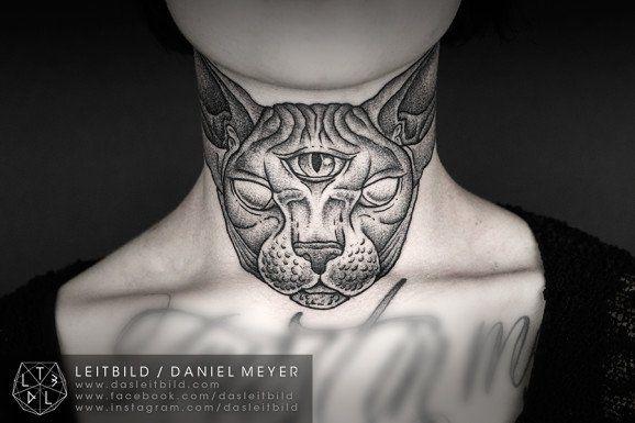 Sphynx Throat Tattoo by Daniel Meyer