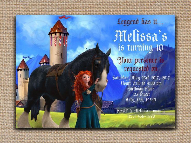 BRAVE Merida Printable INVITATION DIY Text Editable - PDF File in Adobe reader #SweetieCakeToppers #AnyOccasion