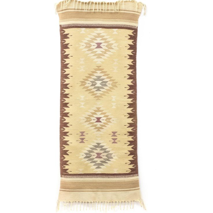 Having a beautiful rug is an often forgotten way to enrich your home nowadays. And it just shouldn't be so, especially when there are great vintage rugs like this beige geometric Southwestern tapestry rug. With a classical design and 58 x 24 dimensions, it's suitable for a great many rooms and places. #bohemian #decor #tapestries&curtains #sandiegovintage #vintagefurniture