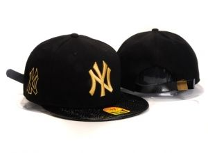 Casquette NY New York Yankees MLB Snapback Noir Cuir : Casquette Pas Cher