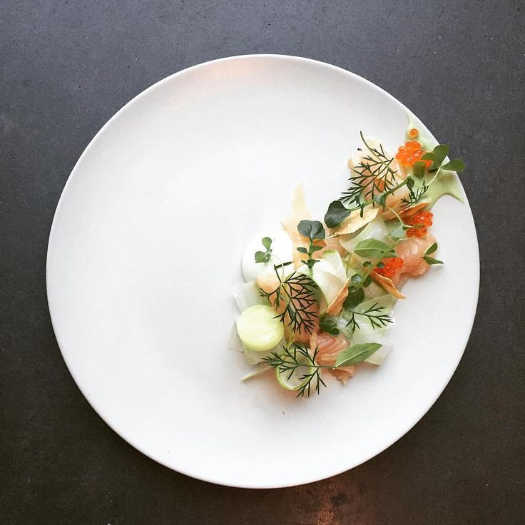 """""""Thanks for the tag @merijnvberlo, Lapsang tea cured trout, roe, celery, apple, sorrel, lemon verbena. Make sure you tag us in your Instagram images…"""""""