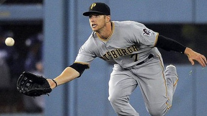 Game 5 (4/11/12)- Pirates left fielder Alex Presley makes a catch on a ball hit by Los Angeles Dodgers' Andre Ethier