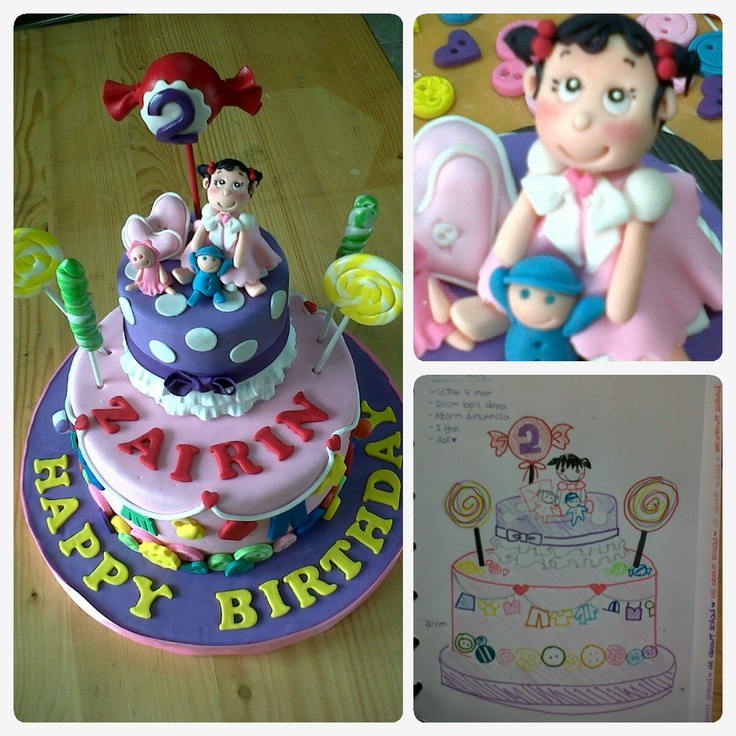 baby doll sweet candy theme birthday cake <3