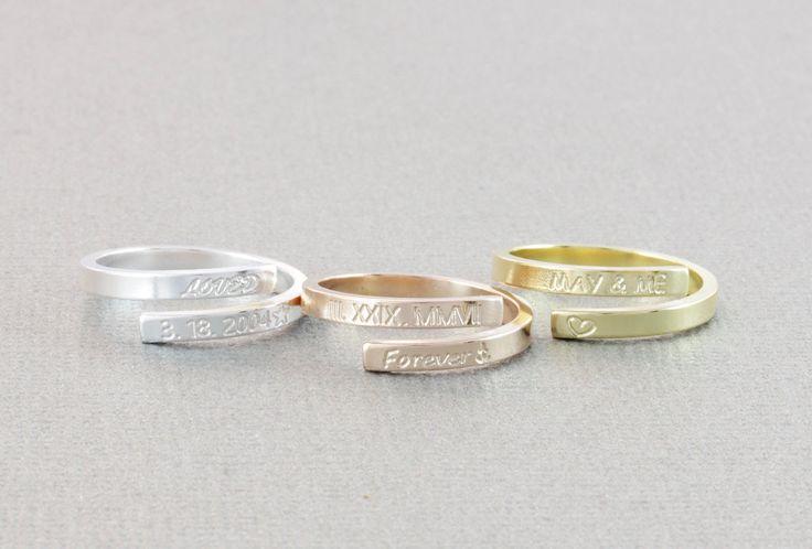 skinny wrap personlized ring, name ring, roman rumeral ring, date ring, message ring, word ring,stacking ring, skinny band ring (W001)
