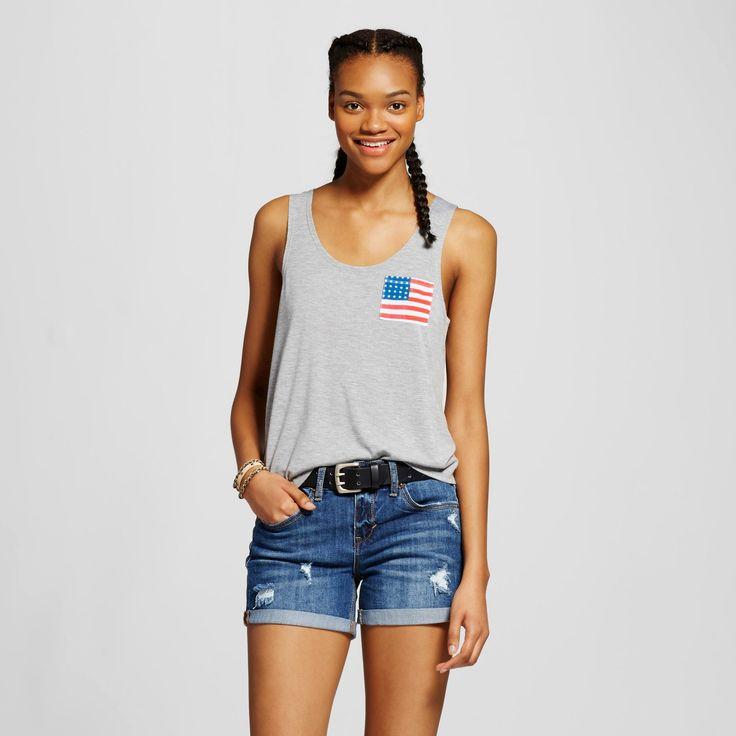 Women's Flag Pocket Graphic Tank Gray Xxl - Fifth Sun (Juniors')