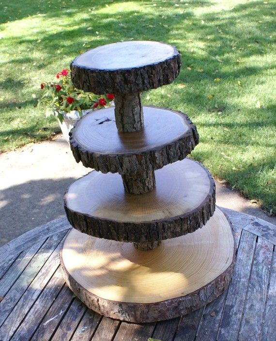rustic cupcake wedding tier-