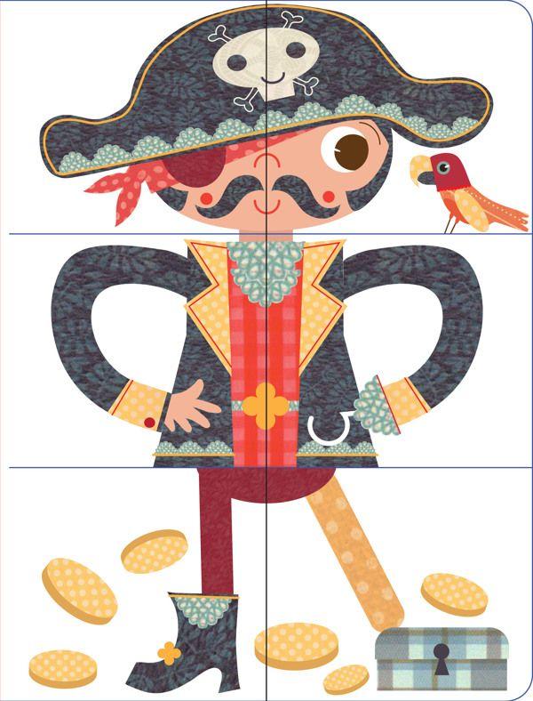 by Stephanie Hinton, via Behance puzzels piraat, cowboy, superheld enz.