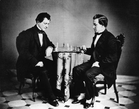 """Paul Morphy and Lewis Elkin are the #chess players in this early #albumen #photograph. Morphy (seated at right), the world famous 19th century chess player, visited The Athenaeum chess club in October, 1859, en route to his native New Orleans from a European tour. Lewis Elkin, an #Athenaeum chess player, served on the Board of Directors from 1893 until his death in 1901. This photograph appears as the frontispiece for Gustavus C. Reichhelm's """"Chess in Philadelphia"""" (1898)."""