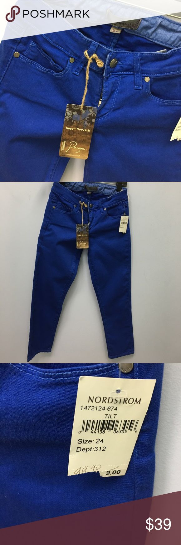 Page crop size 24 These brand-new page jeans from Nordstrom or size 24, style Roxbury crop, classic rise ,cropped skinny by Paige. The original sale price on these was $99 Paige Jeans Pants Ankle & Cropped