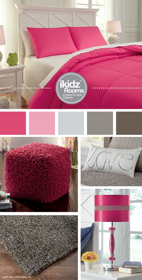 ... Comforter Set   IKidz Rooms®   Hot Pink And Gray Bedroom Color Ideas    Kids, Teen And Youth Bedroom Furniture And Accessories   Ashley Furniture