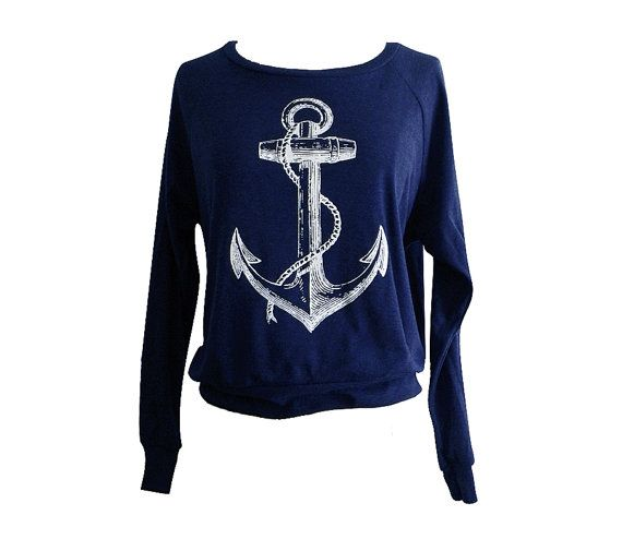 ANCHOR  Sweater - Nautical Sailor Sweater American Apparel SOFT vintage feel - Available in sizes S, M, L on Etsy, $25.00