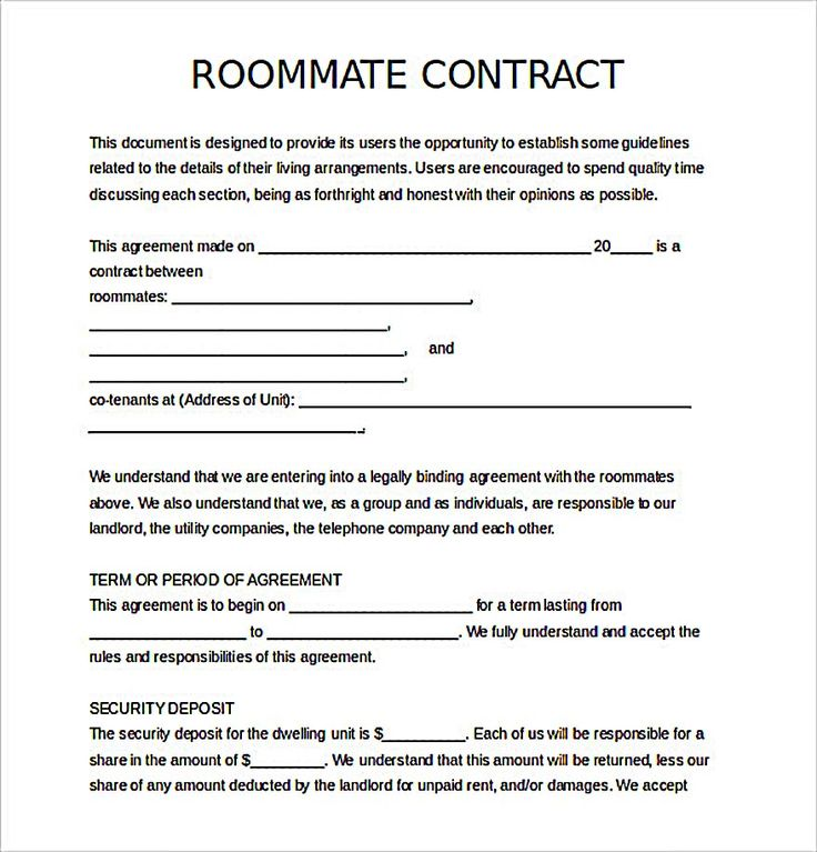 Roommate agreement hakkında Pinterestu0027teki en iyi 10+ fikir Yurt - lease contract template