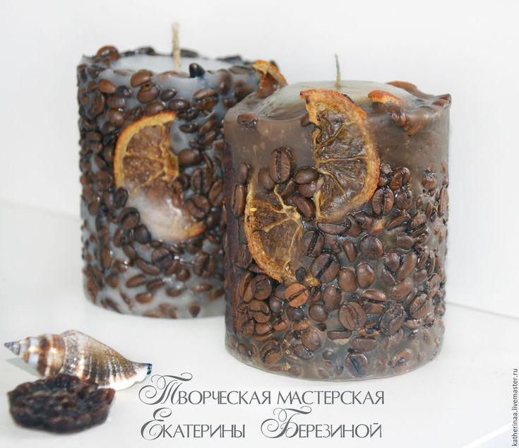 Купить Кофейная свеча аромат корицы и кофе, дольки апельсина - коричневый, свеча…