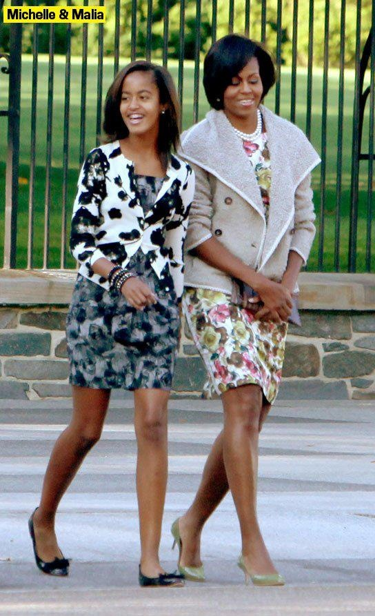 First Lady @Michelle Obama and oldest daughter, Malia Obama.