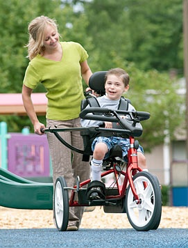 Adaptive Trikes from Rifton -Rifton is a leader in adaptive equipment for children and adults. Rifton adaptive tricycles provide therapeutic, reciprocal exercise with all the fun of riding. This therapeutic trike grows with your child; you adjust it all with the twist of a knob! Price: $1,230-$3,300 Ages: All ages