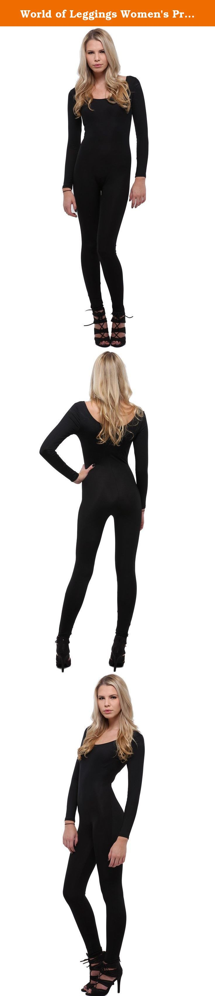"""World of Leggings Women's Premium Basic Full Nylon Spandex Jumpsuit - Black. Model is wearing a One Size. Measurements are 32B x 24 x 35 and height is 5' 8"""" (172.7 cm) If there's one staple you need in your wardrobe for any season it's out Basic Full Nylon Spandex Jumpsuit. Whether it's for layering under long dresses to hold you in, a comfy outfit to work out in, or a sexy look to accessorize for a night out, this fabulously versatile fashion piece covers all bases. You will love having..."""