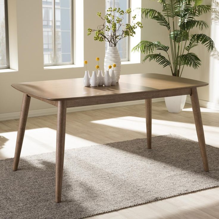 Iliana Extendable Rubberwood Solid Wood Dining Table Solid Wood Dining Set Dining Table Wood Dining Table