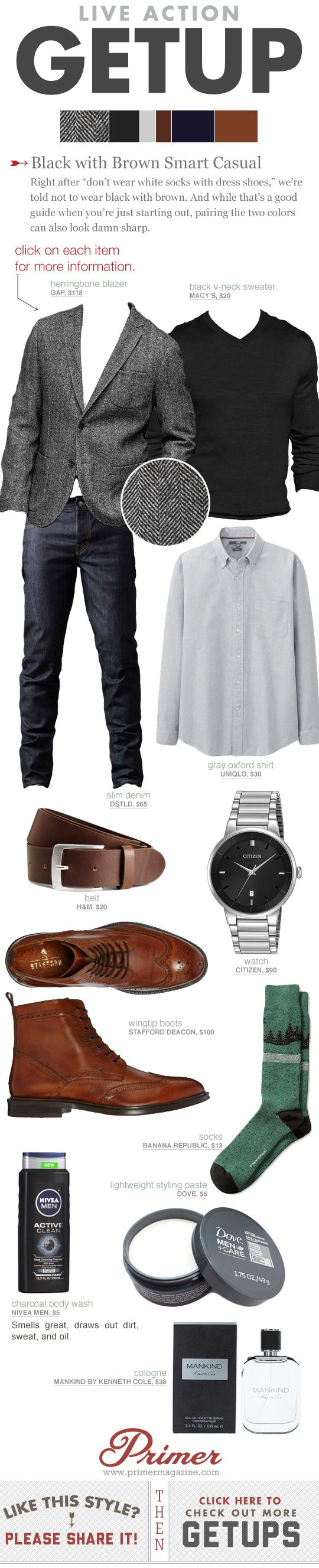 "Right after ""don't wear white socks with dress shoes,"" we're told not to wear black with brown. And while that's a good guide when you're just starting out, pairing the two colors can also look damn sharp. #Getup #menswear #GuysGuide"
