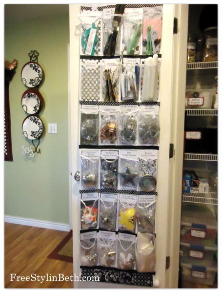 Kitchen Pantry Organization - add walmart shoe organizer and organize cookie cutters and other small kitchen items. GENIUS! (side of fridge)