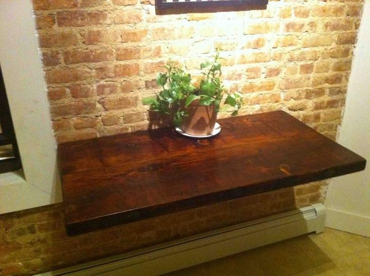 Reclaimed Wood Slab Floating Table: Design Inspiration, Interior Design, Wood, House Ideas, Match Shelving, Diy Projects, Laundry Room