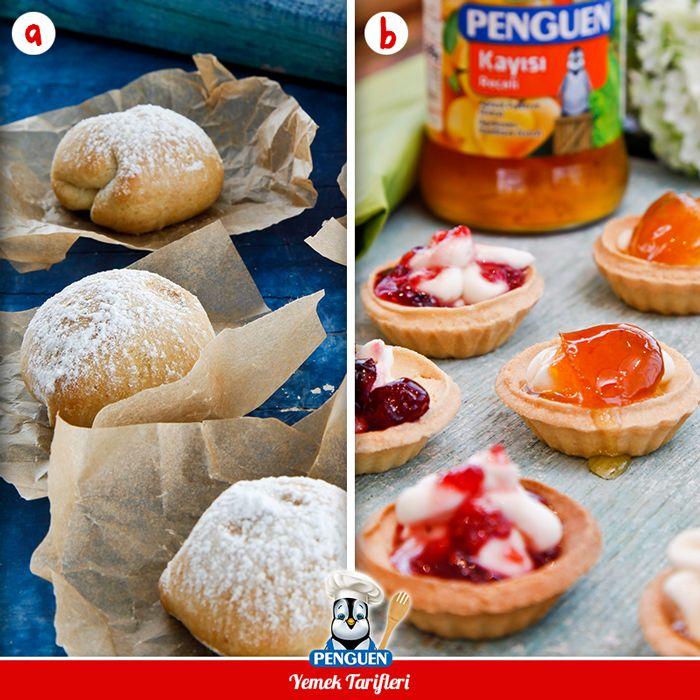 Misafirlerinize sunabileceğiniz bu harika lezzetlerden hangisini seçerdiniz? :) a- Kayısı Reçelli Kurabiye b- Reçelli Mini Tart Tarifleri: www.penguenyemektarifleri.com